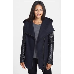 Mackage wool coat with leather sleeves.